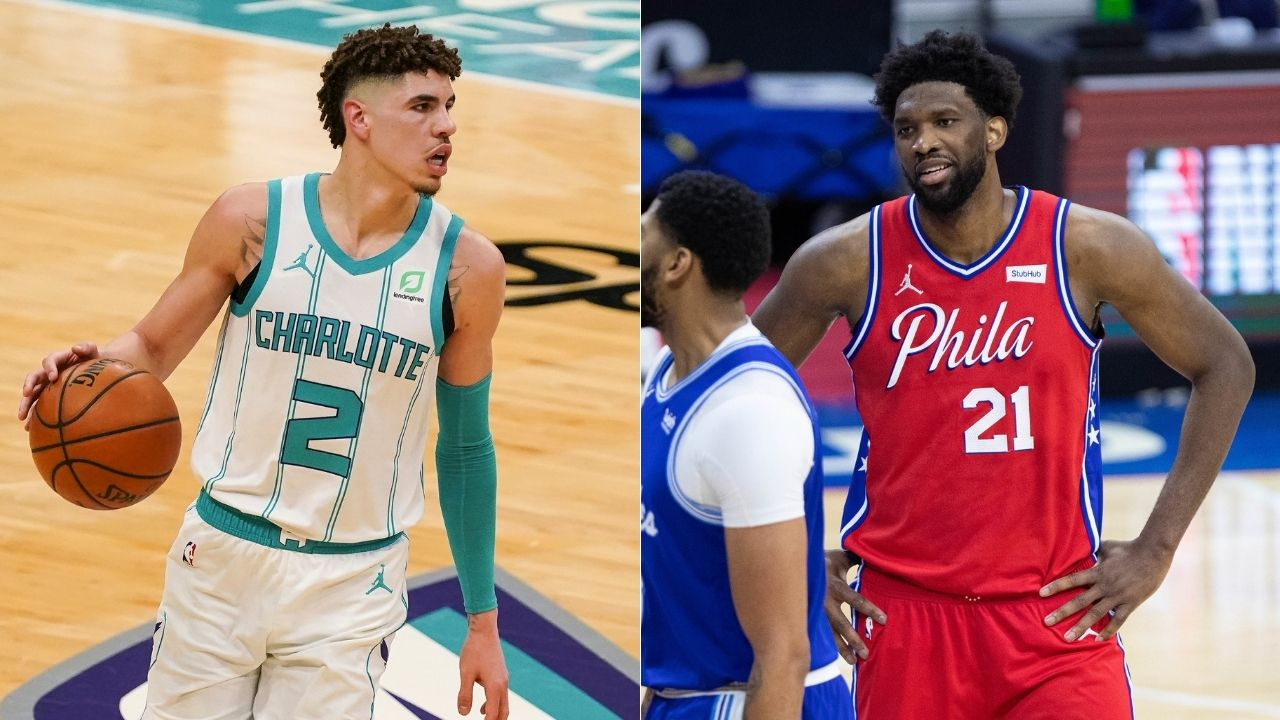 """LaMelo Ball out here stat-padding like Russell Westbrook"": Hornets rookie steals the ball from Joel Embiid and swishes a 3-pointer as game clock runs out"