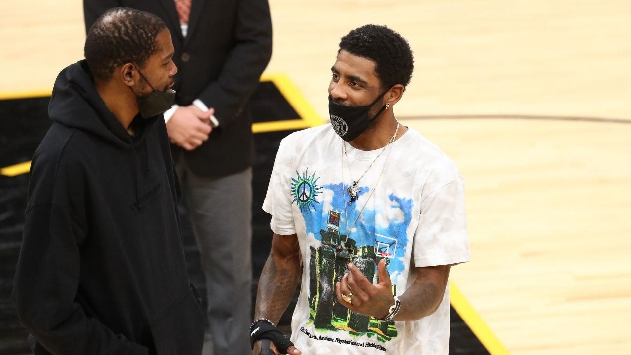 """Kyrie Irving walks into the arena looking like Moses"": Hilarious footage of Nets star entering the Suns' court ahead of last night's game is going viral"