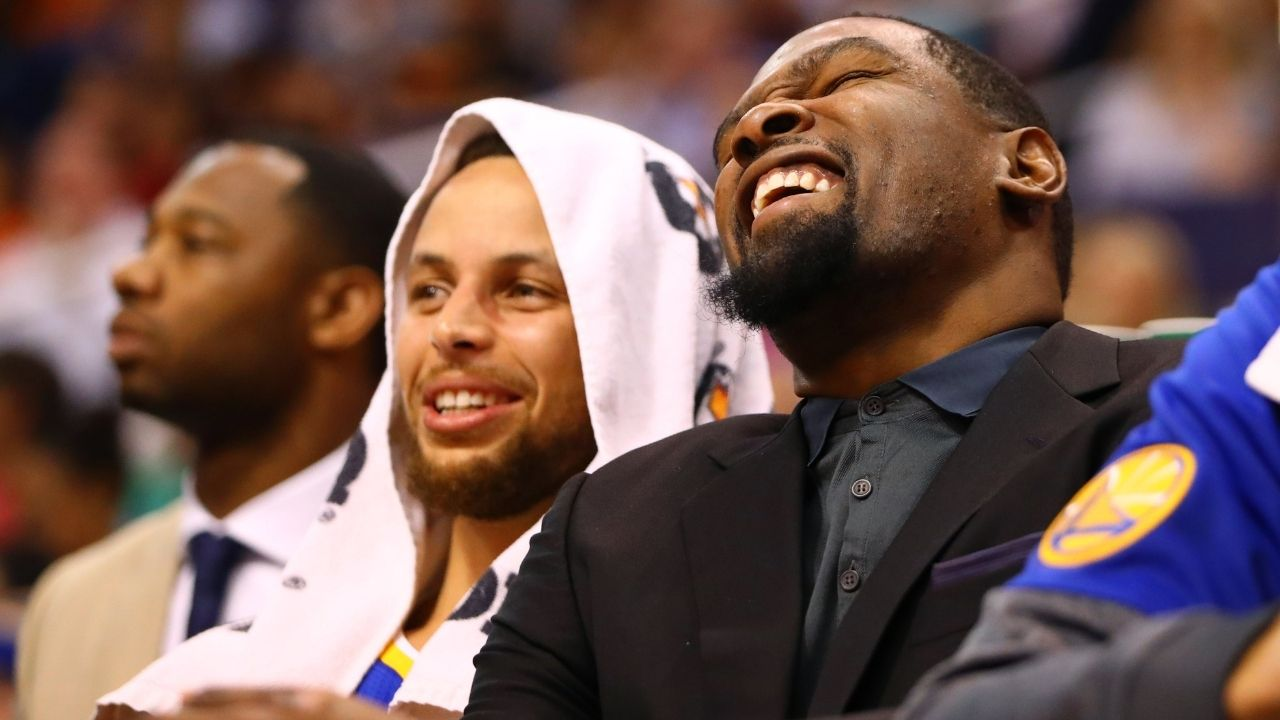 """""""Kendrick Perkins can't get Nikola Vucevic's name correct"""": Kevin Durant bodies former OKC teammate as LeBron James laughs during the All-Star 2021 Draft"""