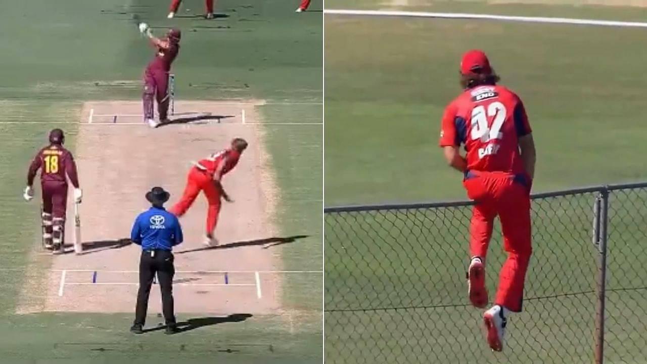 """Worth nine"": Sam Heazlett hits monstrous six off Spencer Johnson in Queensland vs South Australia Marsh Cup clash"