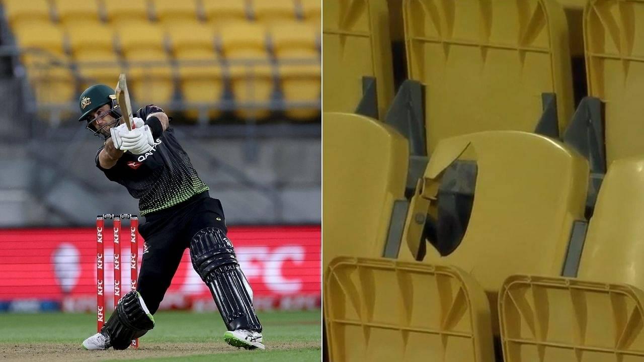 """Maxwell leaves his mark"": Glenn Maxwell hits 28 runs off Jimmy Neesham over; breaks chair at Wellington stadium"
