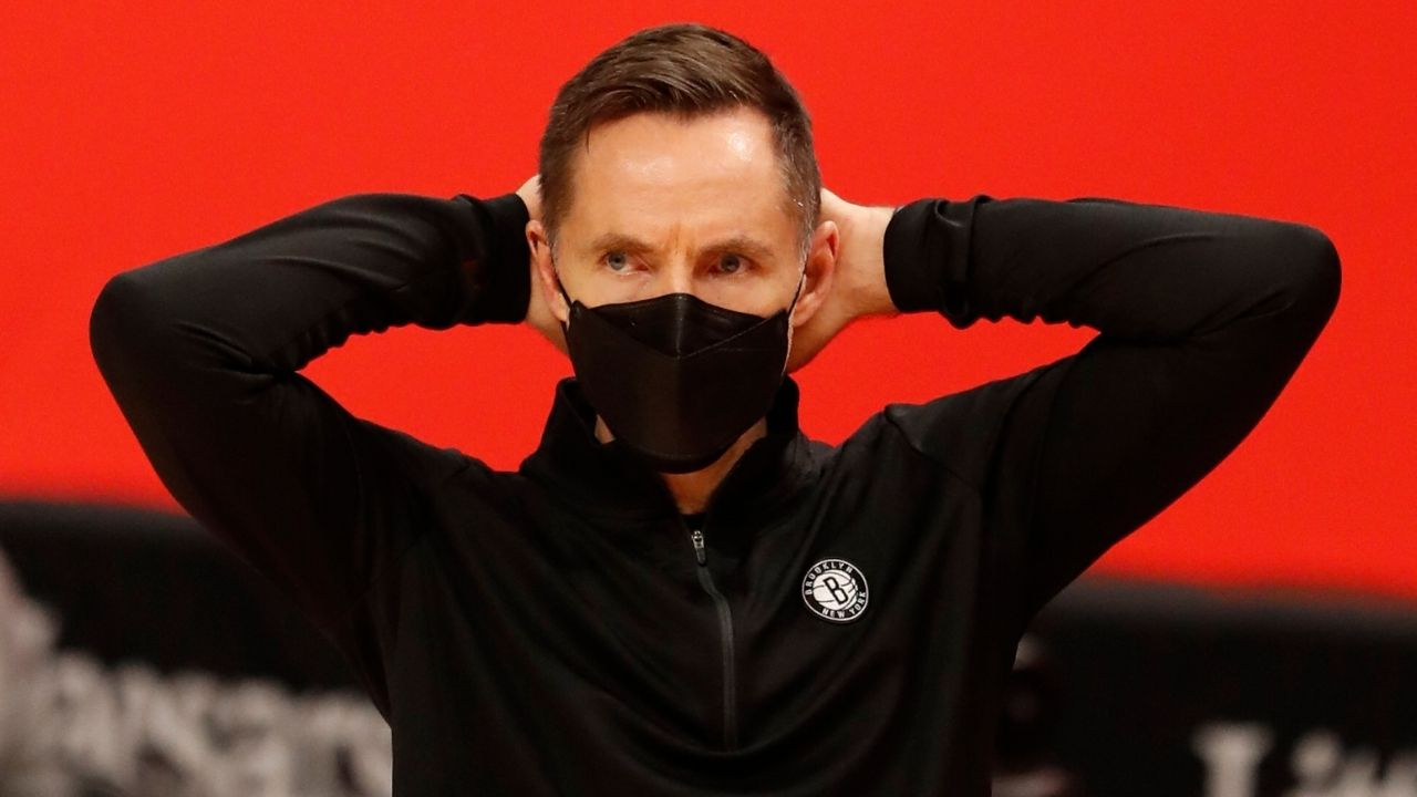 """""""I would play Jesus tonight, I would probably start him"""": Steve Nash's dad joke after reporter fumbles a question about Nets stars Kevin Durant and James Harden"""