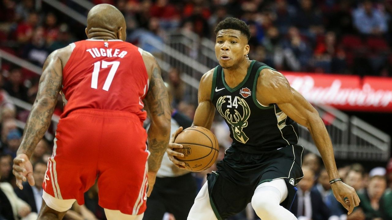 """Giannis Antetokounmpo, I don't have to guard you any more"": PJ Tucker hilariously expresses relief after Bucks finalize trade for him"
