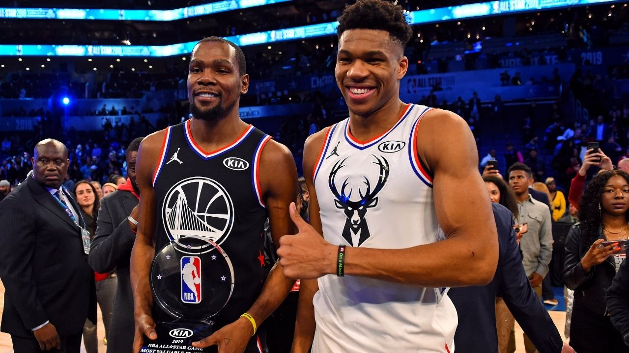 """""""Kevin Durant, it's over"""": Giannis Antetokounmpo disses the Nets superstar's All-Star team after learning Team LeBron's starting five"""