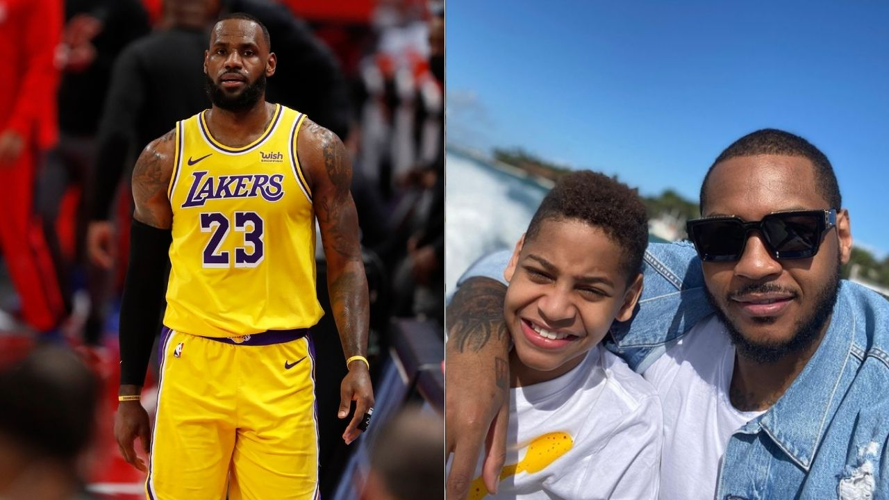 """""""Kiyan Anthony, you're just like your father"""": LeBron James puffs up his 'nephew' and Carmelo Anthony's son, posting his highlights on Instagram"""
