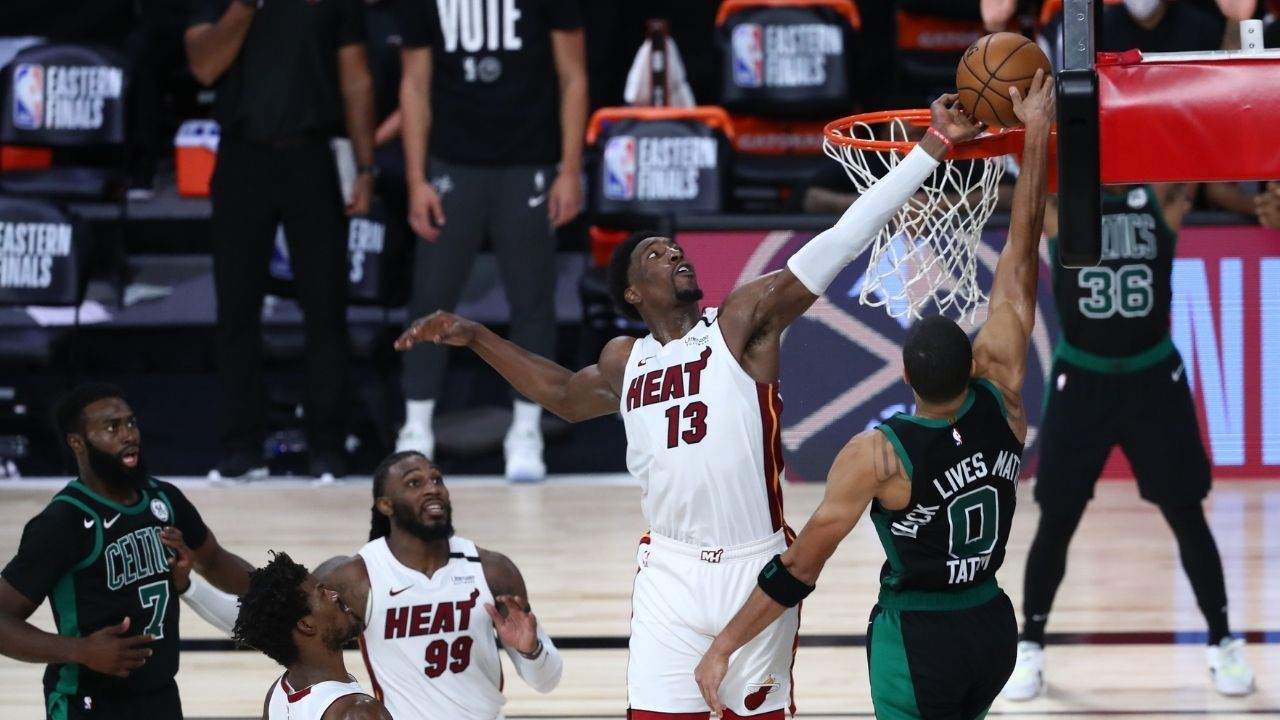 """""""Lowkey still talkin' s**t to Jayson Tatum about it"""": Bam Adebayo explains why his block against Celtics in last year's playoffs was a top 3 Heat moment ever"""