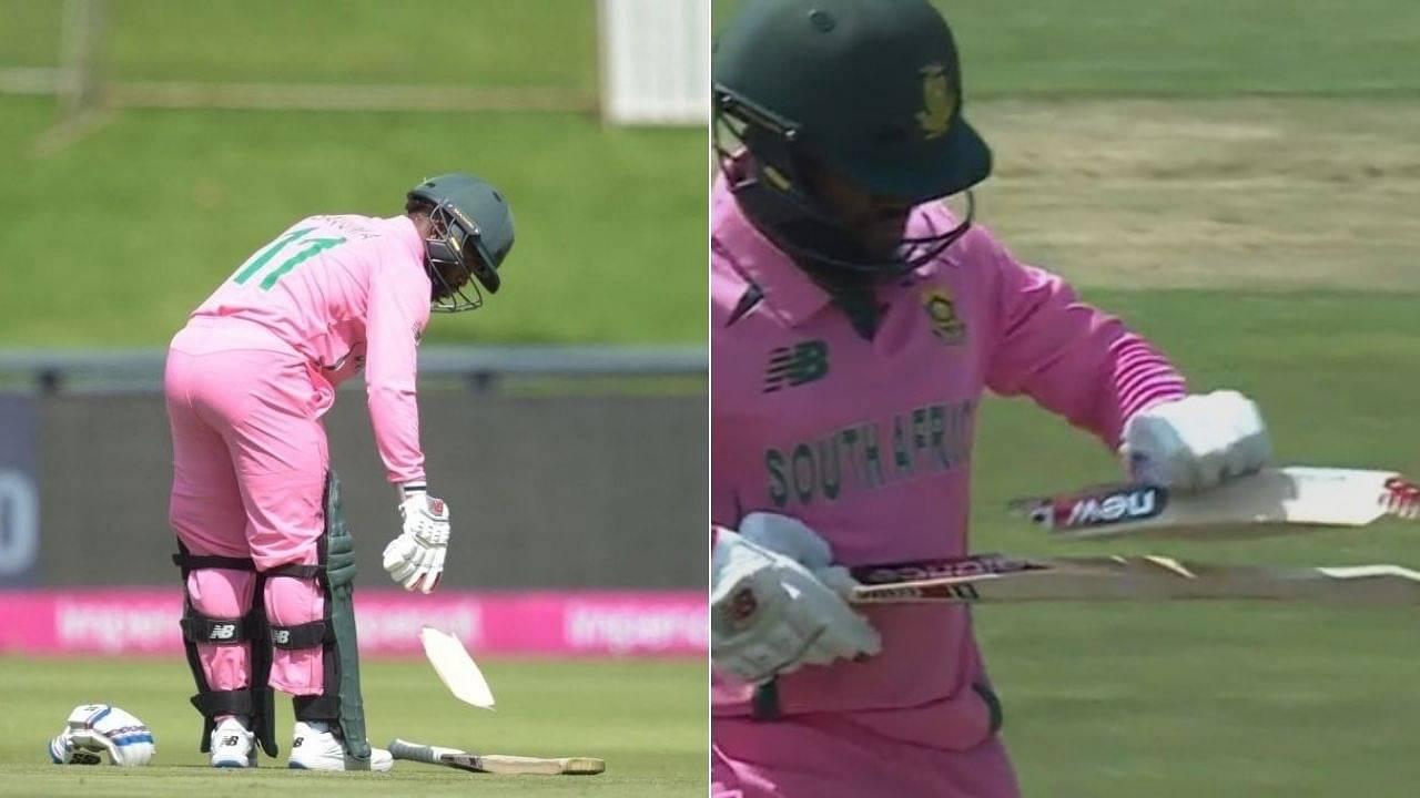Johannesburg ODI: Faheem Ashraf breaks Temba Bavuma's bat in 2nd SA vs PAK ODI