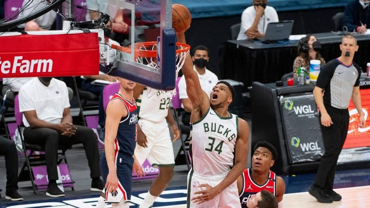 """Giannis Antetokounmpo ties otherworldly Wilt Chamberlain record"": Bucks MVP shoots 18-18 from 2-point range in blowout win against Damian Lillard's Blazers"