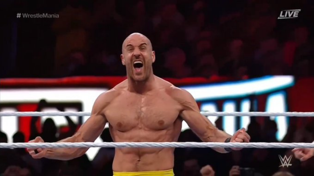 Cesaro takes down Seth Rollins in his first singles match at Wrestlemania