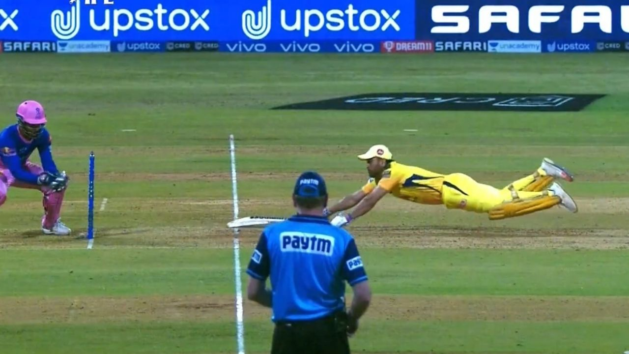 Dive in cricket: Fans in awe as MS Dhoni dives to survive run-out appeal vs Rajasthan Royals