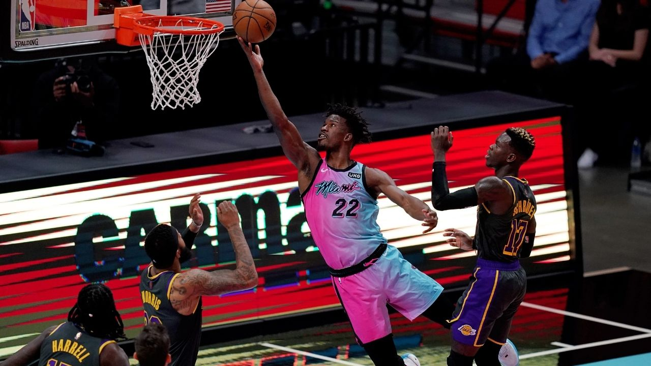 """""""Don't do that!"""" Jimmy Butler talks trash to Andre Drummond after drilling clutch jumper over him in Heat win over Lakers without LeBron James"""