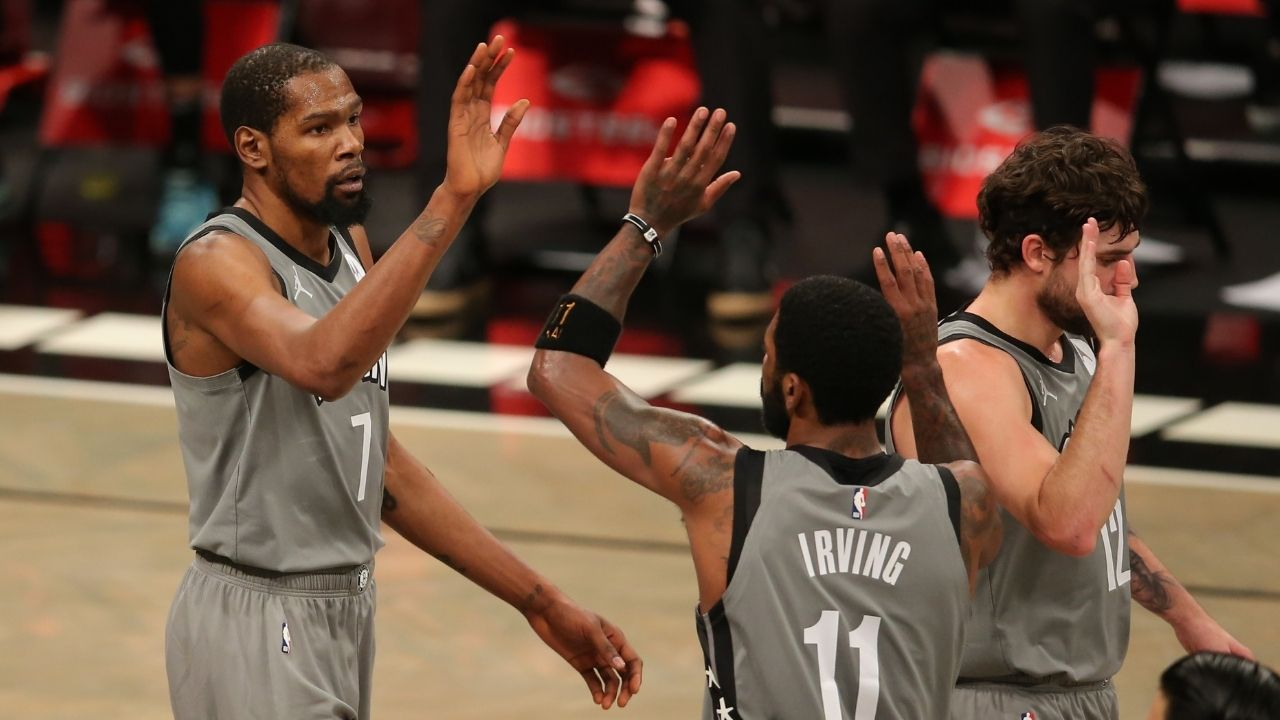 """""""No James Harden? No problem!"""": The Brotherhood of Kyrie Irving and Kevin Durant take down Devin Booker and his Phoenix Suns"""