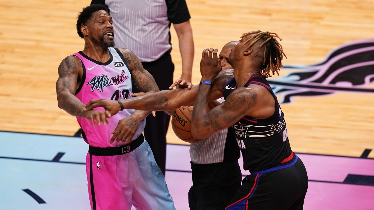 """""""Don't put OG in the game cause he's looking to fight"""": Jimmy Butler hilariously reacts to Heat veteran Udonis Haslem getting ejected in just three minutes of his season debut"""