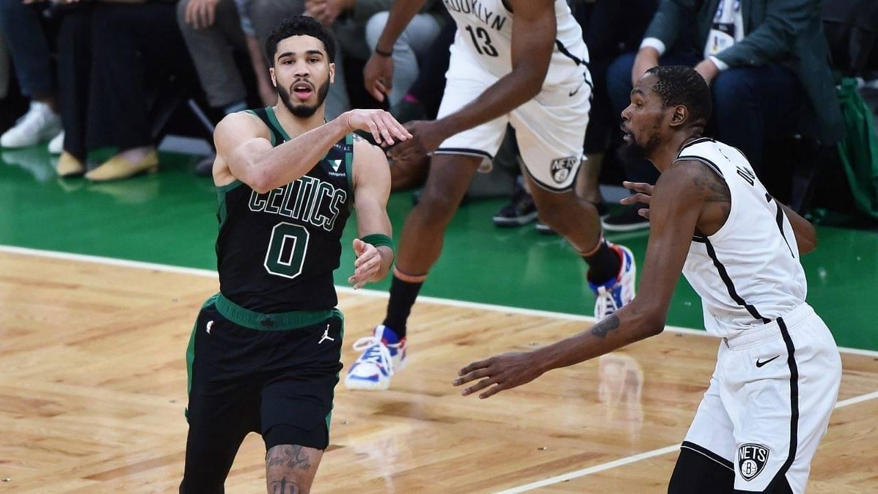 """Jayson Tatum got Kevin Durant reaching"": Celtics star crosses up Nets rival en route 40 points in 3 quarters of Celtics vs Nets Game 3"