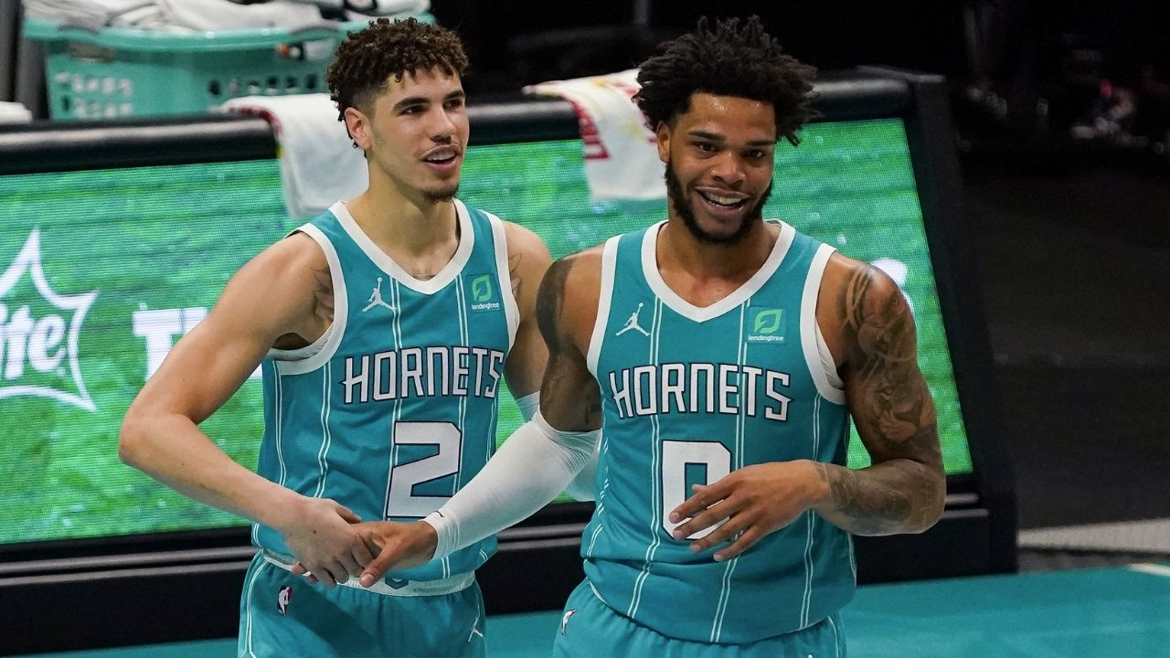 """""""The LaMelo Ball - Miles Bridges connection is alive again"""": Hornets high-flier and Rookie of the Year candidate combine for transition slam dunk"""