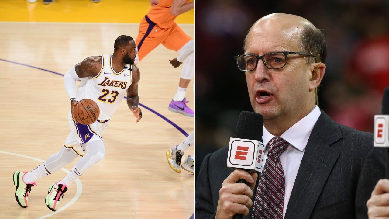 Jeff van Gundy hilariously reacts to LeBron James dunking with his head at the rim for Lakers vs Suns in Game 4