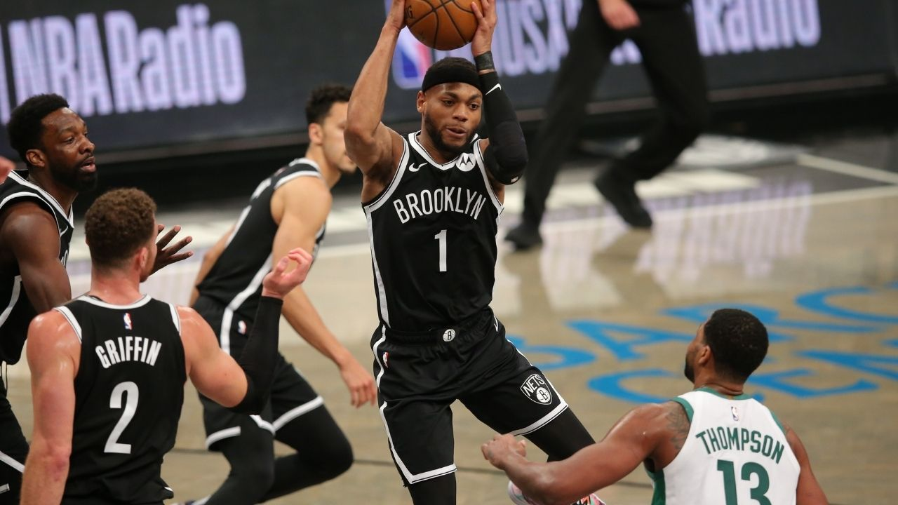 """""""Been called monkey before in Boston"""": Bruce Brown backs up Nets teammate Kyrie Irving as he talks about the racism he faced going to high school in Boston"""
