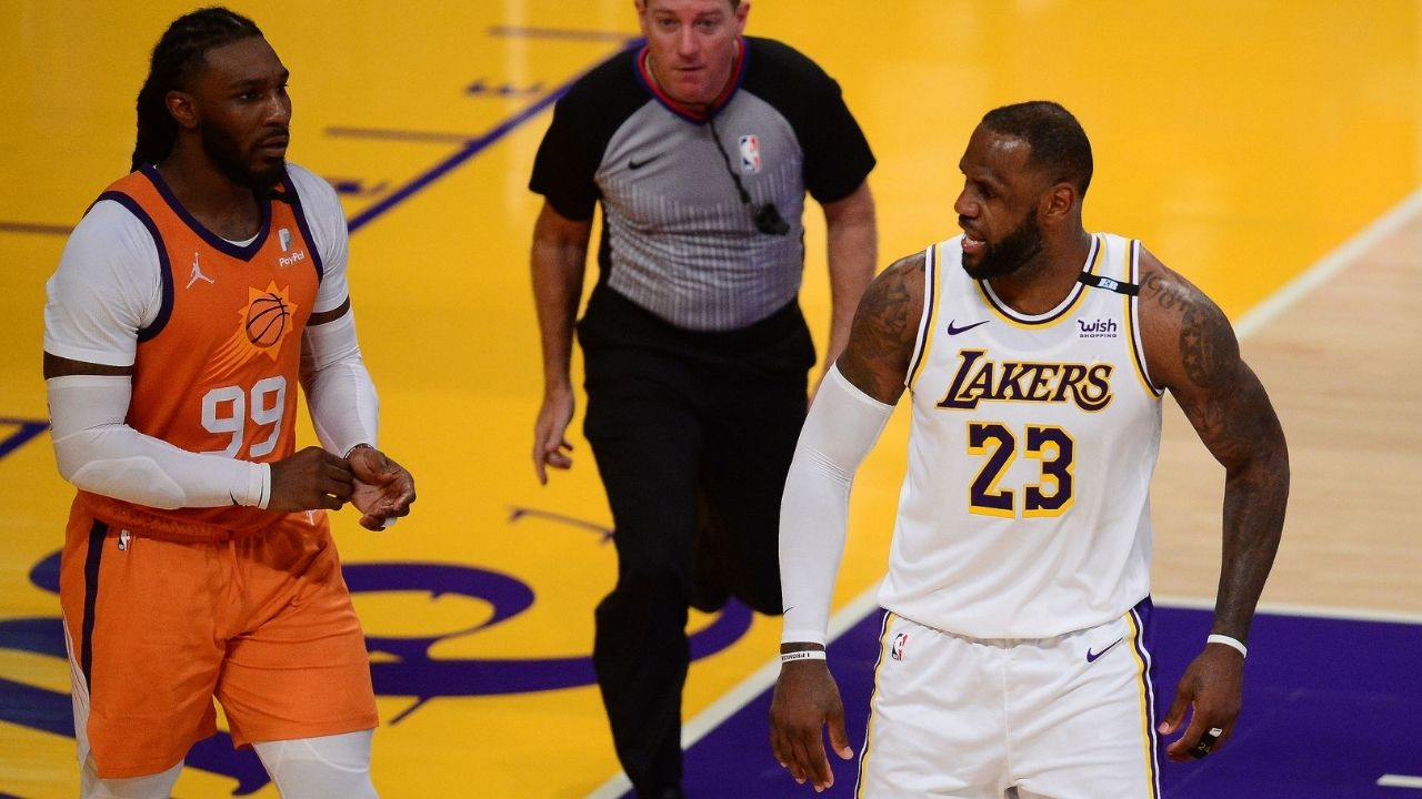 """""""Jae Crowder stares down LeBron James"""": Suns forward turns into a meme after hard fouling Lakers MVP in Game 4 win over the Lakers"""
