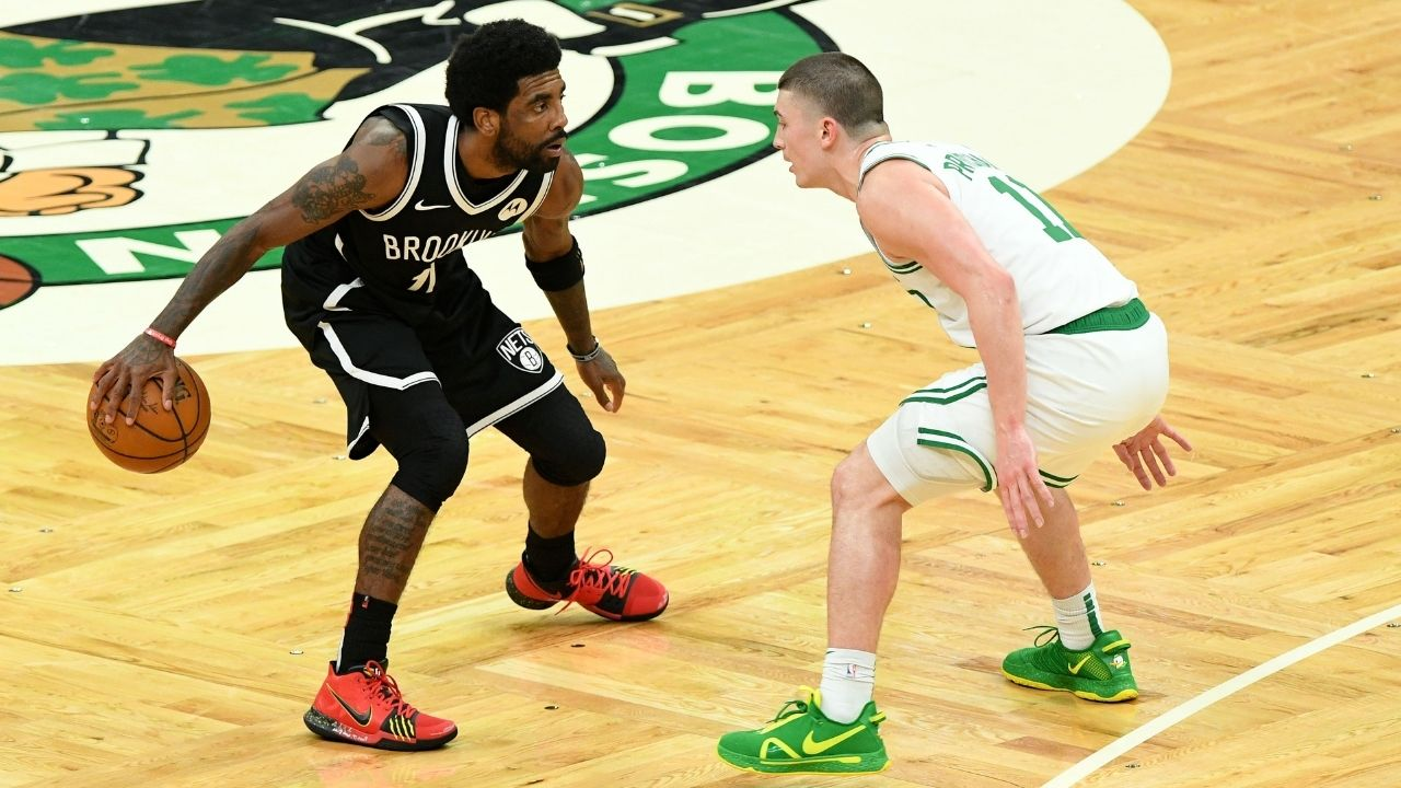 """""""Kyrie Irving steps on Celtics logo menacingly"""": NBA Fans react to the Nets' star stamping his foot on the Celtics' logo at halfcourt"""