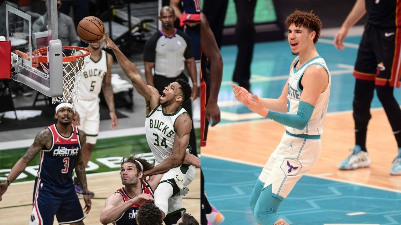"""""""Giannis Antetokounmpo takes 30 seconds to hit a free throw!"""": NBA fans troll Bucks MVP for taking as long as 2 LaMelo Ball free throws to hit merely 1"""