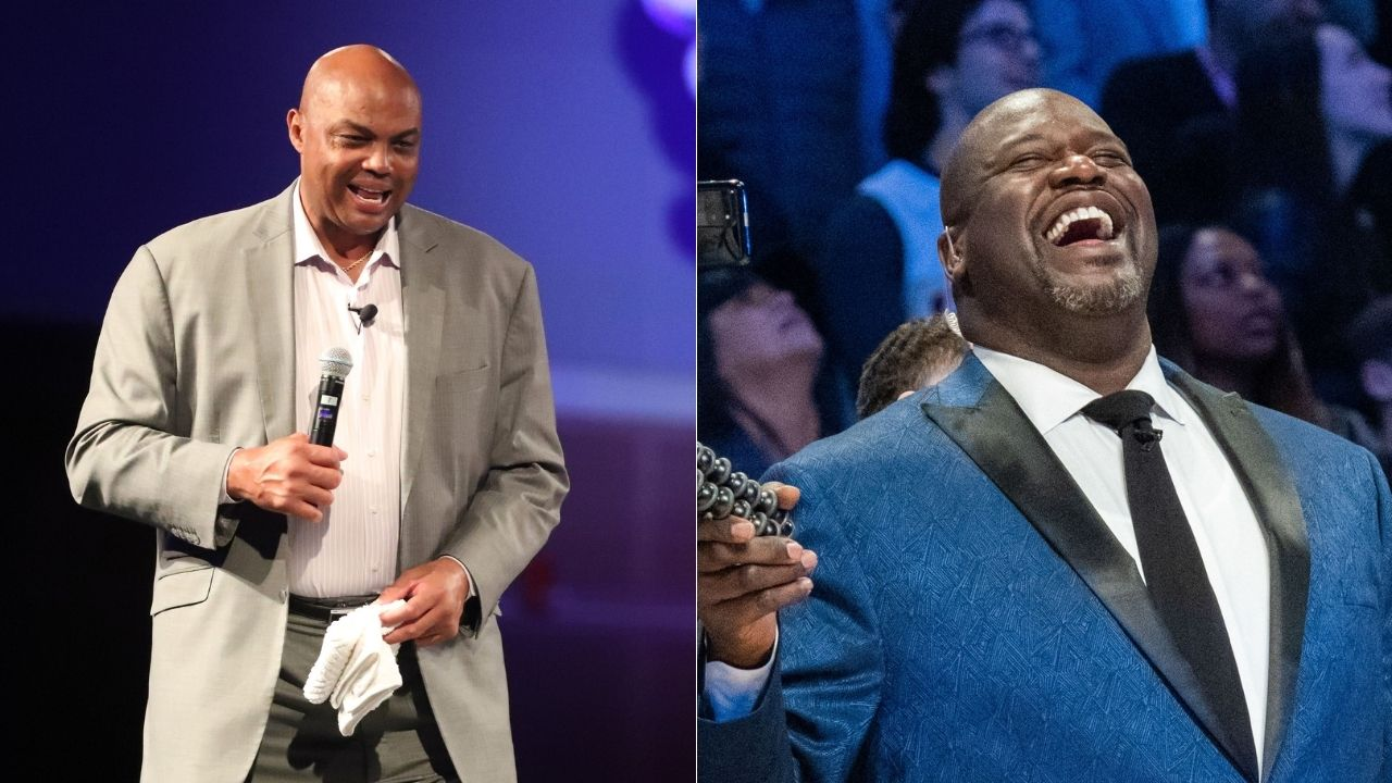 """""""Dr O'Neal to the rescue"""": Shaquille O'Neal swoops in to Charles Barkley's aid after the Chuckster suffers a cramped thigh"""