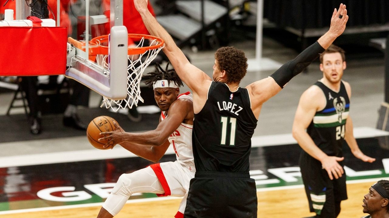 """""""Brook Lopez recoiled after Kenyon Martin Jr dunked on him"""": Bucks star explains his hilarious reaction to the Rockets rookie's poster dunk"""