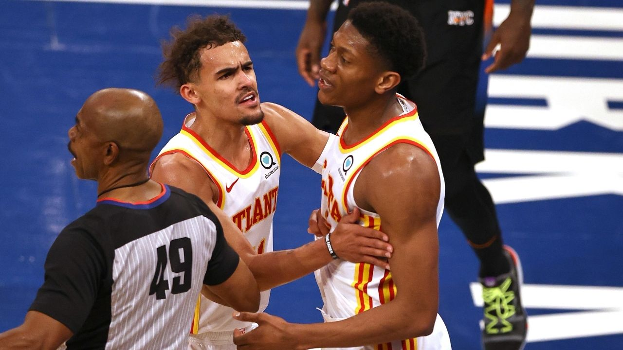 """""""Did Knicks fan spit on Trae Young?"""": NBA Fans react to viral footage of Hawks star getting sprayed at MSG during loss vs Julius Randle and co"""
