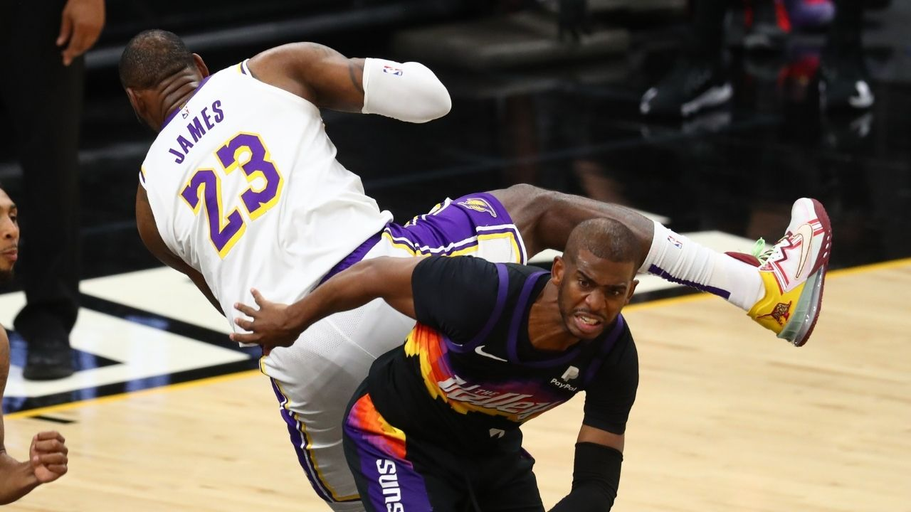 """""""LeBron James deserves an Oscar for flying across the court"""": NBA Twitter reacts to Laker MVP's overexaggerated flopping against Chris Paul in Suns win in Game 1"""