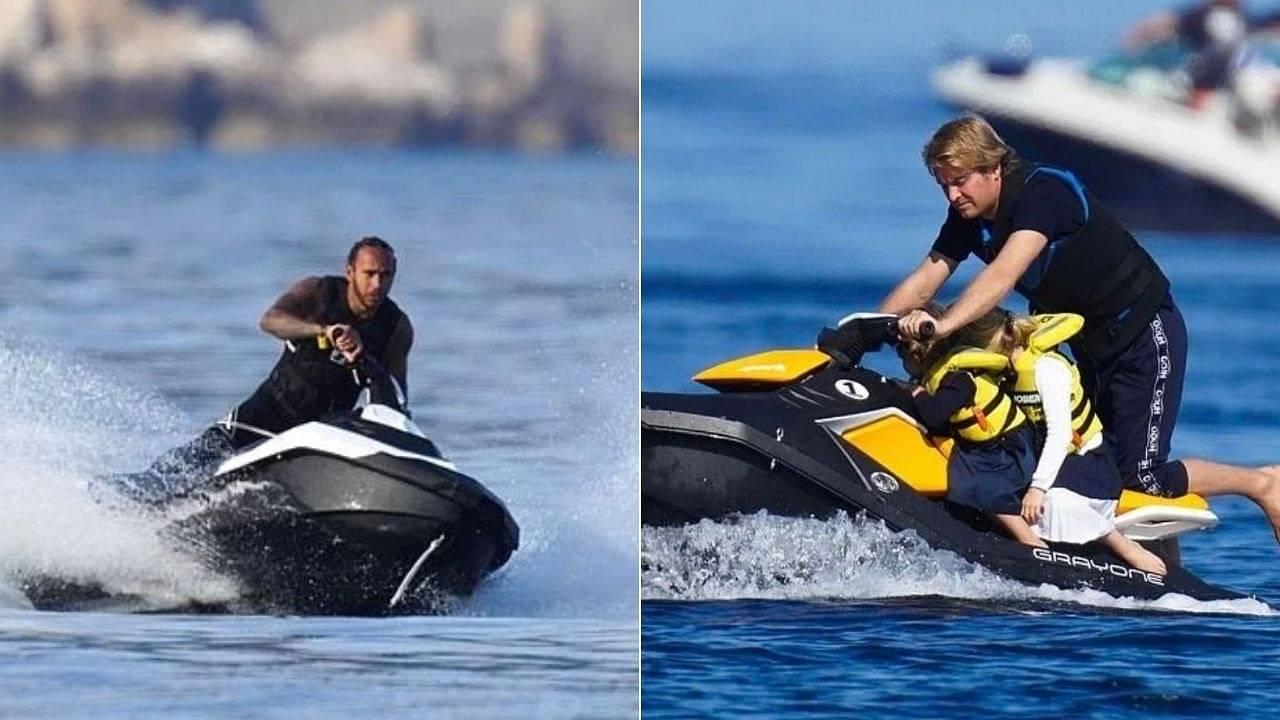 Lewis Hamilton and Nico Rosberg holidaying amidst the Mediterranean waves