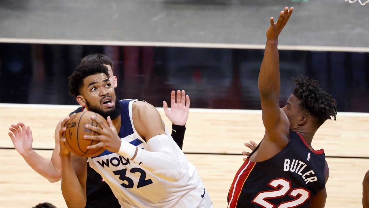 """""""Karl-Anthony Towns, you're soft as baby sh*t"""": Miami Heat star Jimmy Butler gets into a heated verbal altercation with the Timberwolves big man"""