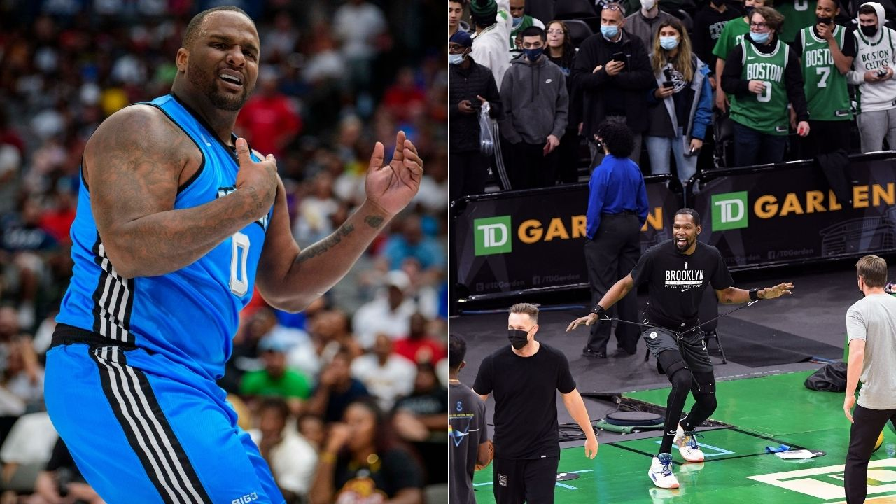 """""""Big Baby will sit on Kevin Durant with no regard for his life"""": NBA Fans hilariously react to Nets star's Instagram response to Glen 'Big Baby' Davis's comments on Kyrie Irving stomping 'Lucky'"""