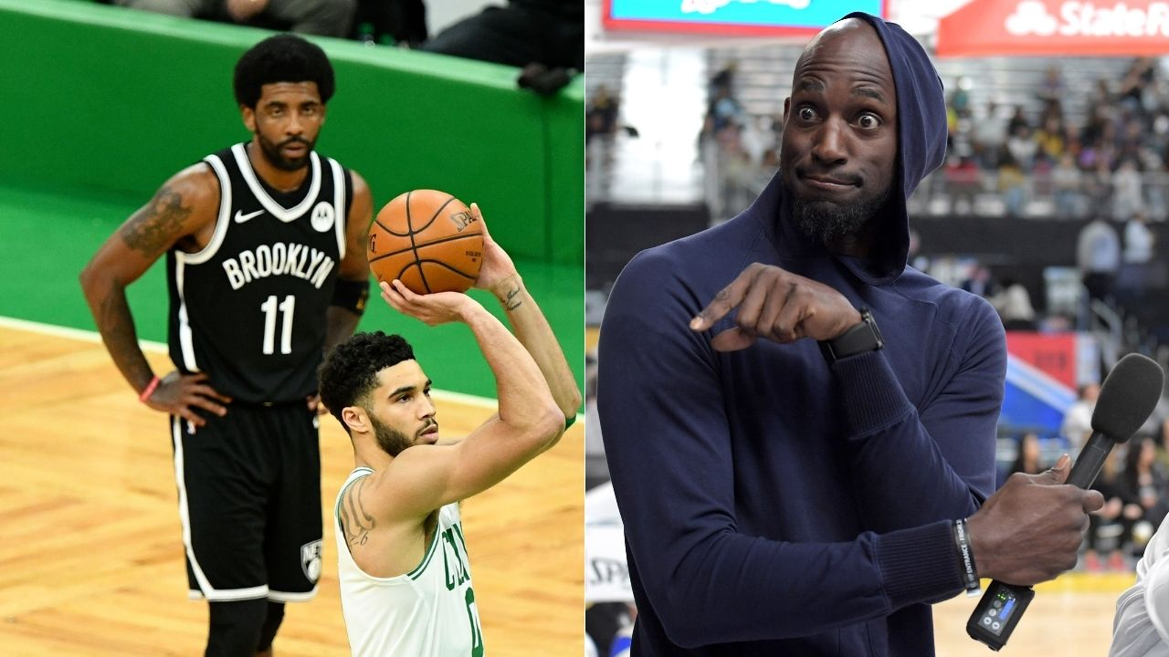"""""""Kyrie Irving, you stomped 'Lucky', that's not cool"""": Kevin Garnett berates Nets star for stomping on Celtics logo after Game 4 win"""