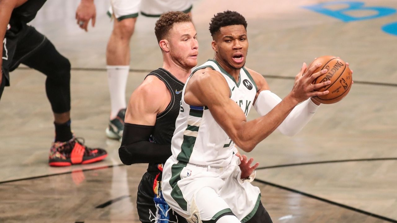 """""""Blake Griffin posterizes Giannis Antetokounmpo!"""": NBA fans react to Nets star body-bagging the 2-time MVP as Brooklyn takes 24-point halftime lead in Game 2"""