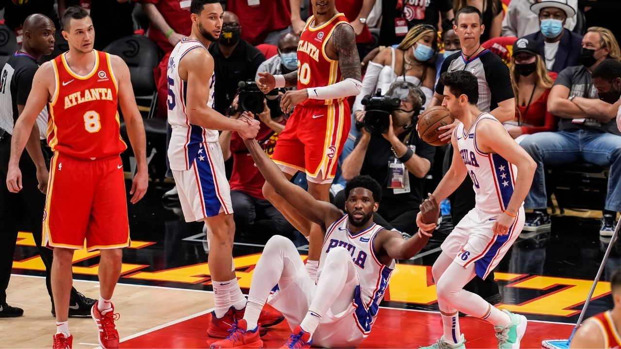 """""""I wanna win a championship... I'm gonna do whatever it takes"""": Joel Embiid talks about playing with a torn meniscus, as Sixers take Game 3 over the Hawks"""