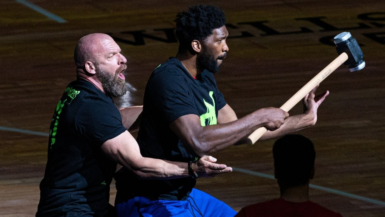 """""""Triple H rings Liberty Bell with Joel Embiid watching"""": WWE star kicks off Sixers vs Hawks Game 2 as Trae Young lights up Wells Fargo Arena"""