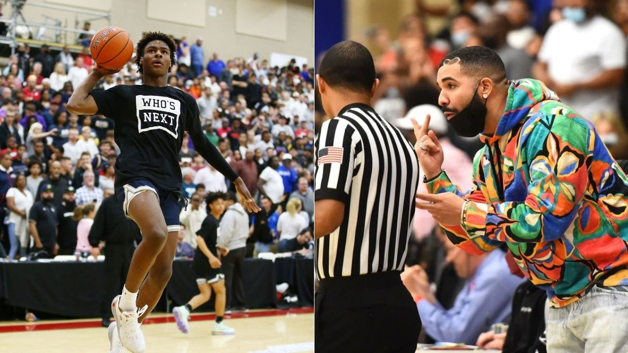 """""""Even LeBron James and Drake jumped out their seats"""": Bronny James' sophomore debut for Sierra Canyon was attended by the Lakers star and hip hop powerhouse"""