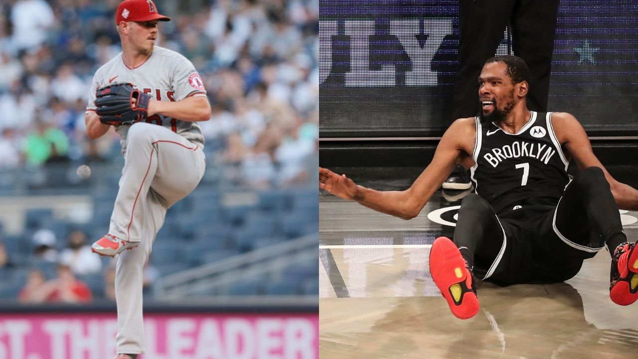 """""""Kevin Durant hasn't seen someone choke like this in a game since last week"""": NBA fans troll the Nets superstar's reaction to seeing Angels pitcher Dylan Bundy throw up on the mound"""