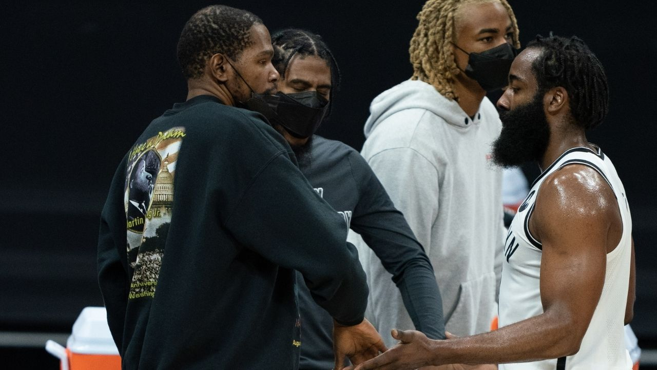 """""""This is the first time Kevin Durant has had to sweat in 5 years"""": NBA analyst says he doesn't want James Harden to come back yet as he believes the 'Slim Reaper' needs to prove himself"""