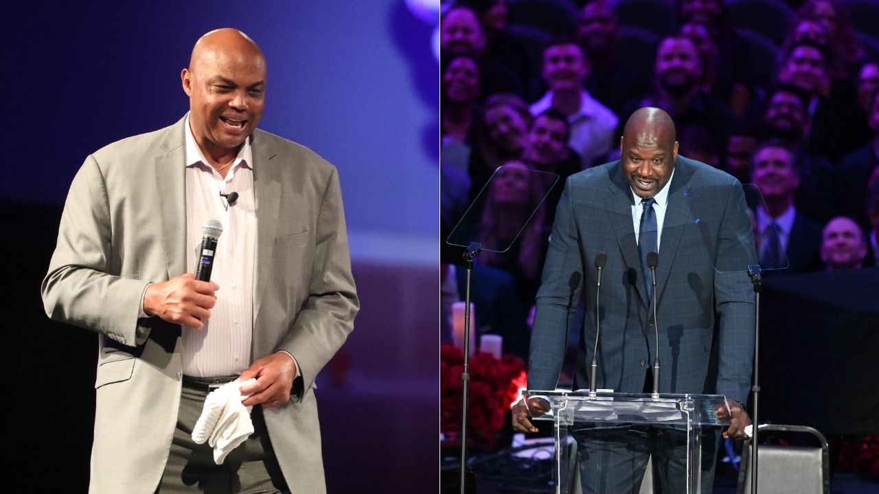 """""""Shaquille O'Neal tried to posterize Charles Barkley and missed"""": Lakers legend tries to dunk over the Phoenix legend on the set on NBAonTNT"""
