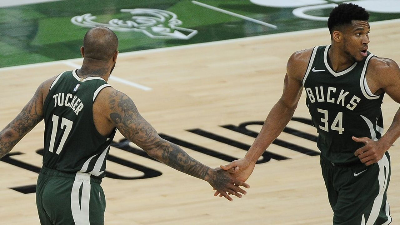 """""""That's exactly how PJ Tucker drew it up"""": An alley-oop to Giannis Antetokounmpo accidentally falls in as a 3, as Bucks go on to win Game 3 of the ECF"""