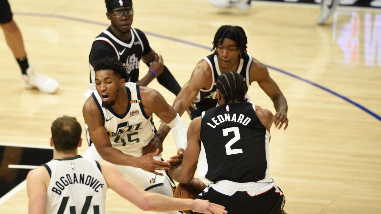 """""""Kawhi Leonard said I'll take that"""": Clippers superstar locks up Donovan Mitchell for most of their Game 3 matchup, steals and dunks it in"""