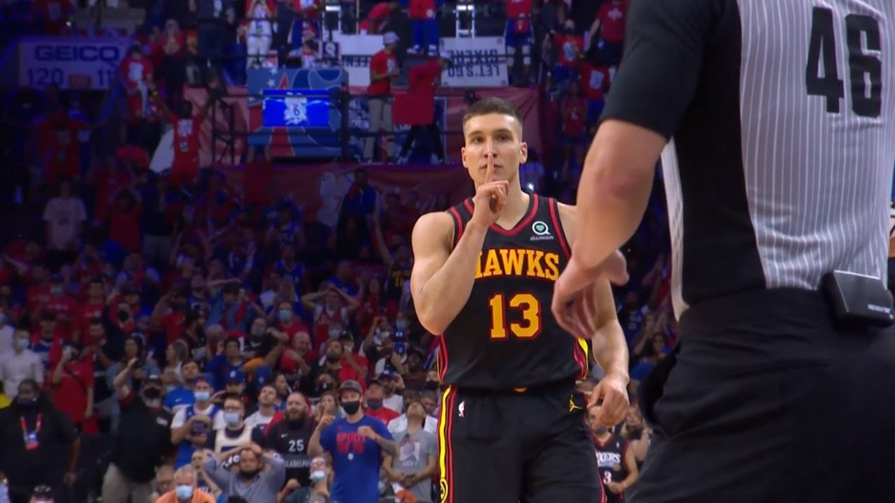 """""""Bogdan Bogdanovic quiets the Philly crowd down"""": Hawks star puts finger to his mouth and shushes Sixers fans in 128-124 Game 1 win over Joel Embiid and co"""