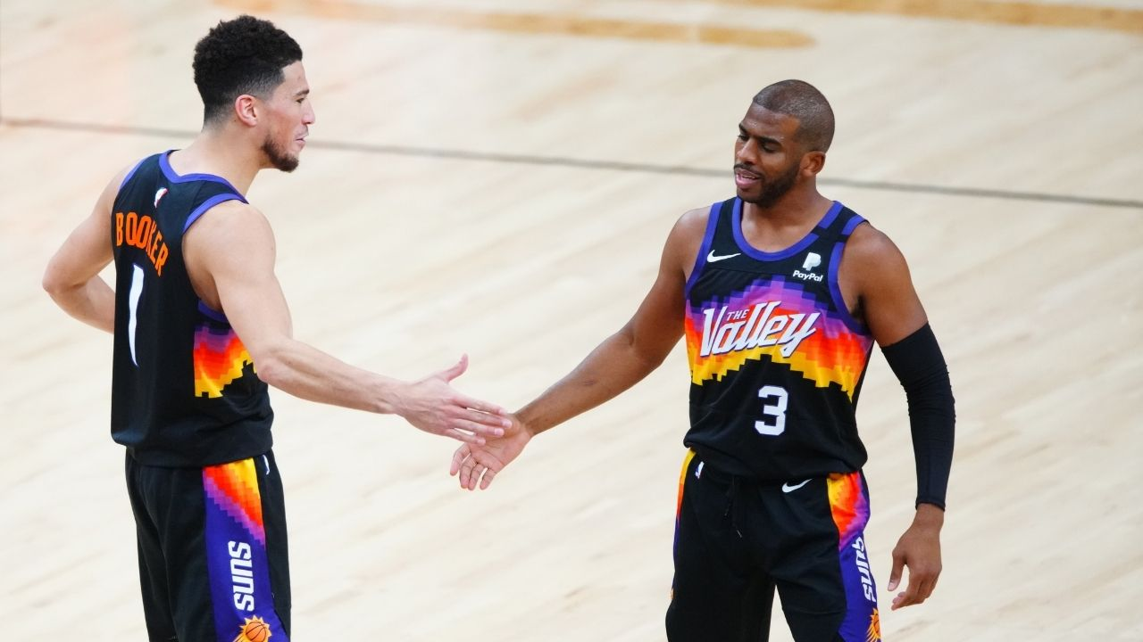 """""""The Suns don't give up!"""": Chris Paul gets on video call with Devin Booker and DeAndre Ayton after their Game 2 win over the Clippers to hype them up"""