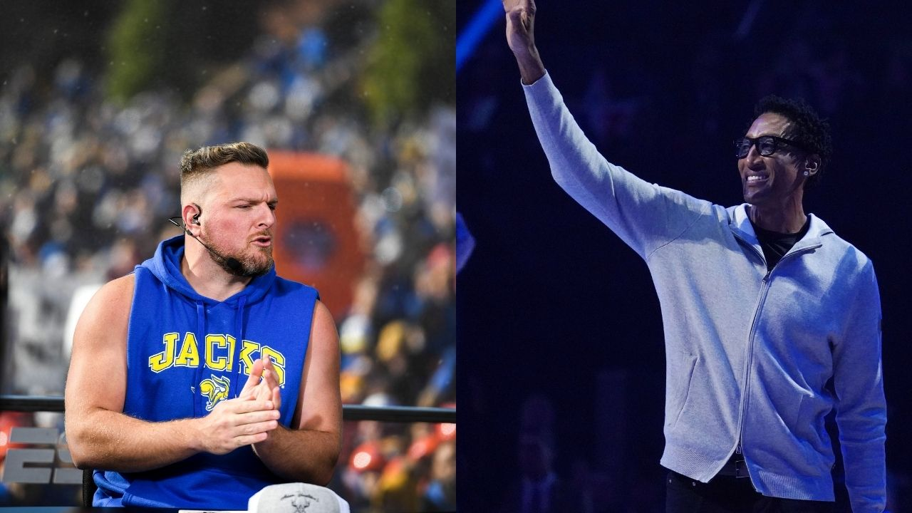"""""""Dell Curry lied to me about Scottie Pippen's golf skills"""": When Pat McAfee hilariously lost to the Bulls legend and immediately taught him how to shotgun a beer"""