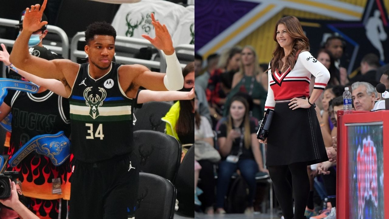 """""""Want Rachel Nichols to be a part of the Bucks championship"""": Giannis hands the Larry O'Brien trophy to the ESPN analyst following Finals win over Chris Paul and Suns"""