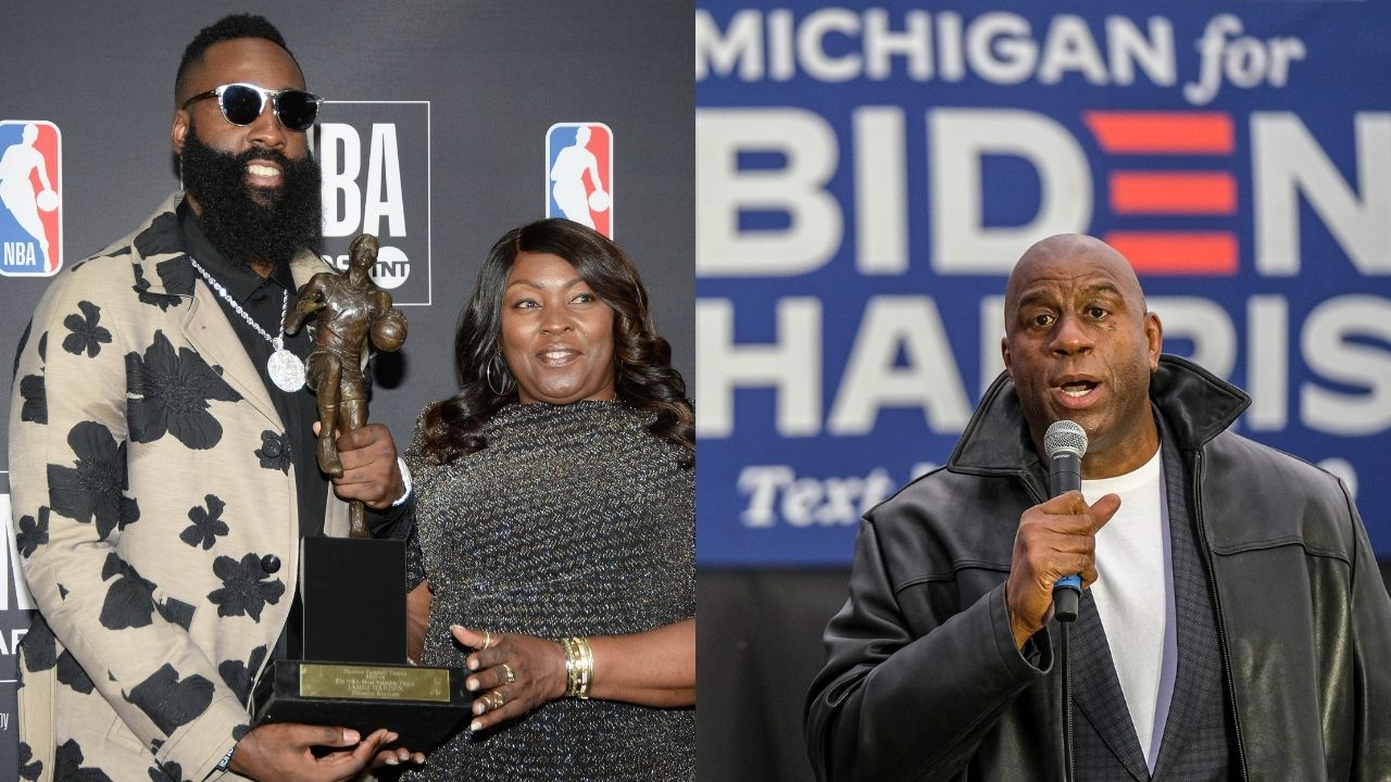 """""""Samuel L Jackson and I ran into James Harden in Monte Carlo!"""": NBA fans hilariously roast Magic Johnson for posting a picture with the Nets star"""