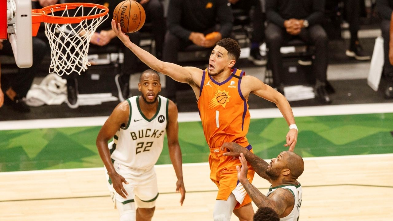 """""""Devin Booker is never allowed to complain about the refs ever again"""": NBA fans roast Suns superstar for pathetic foul-baiting after he misses clutch layup in Game 4 loss"""