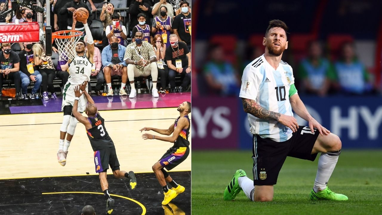 """""""Lionel Messi and Papu Gomez imitate Jrue Holiday and Giannis"""": This viral video of Argentine footballers copying Bucks' iconic Final Game 5 alley-oop will gladden you"""