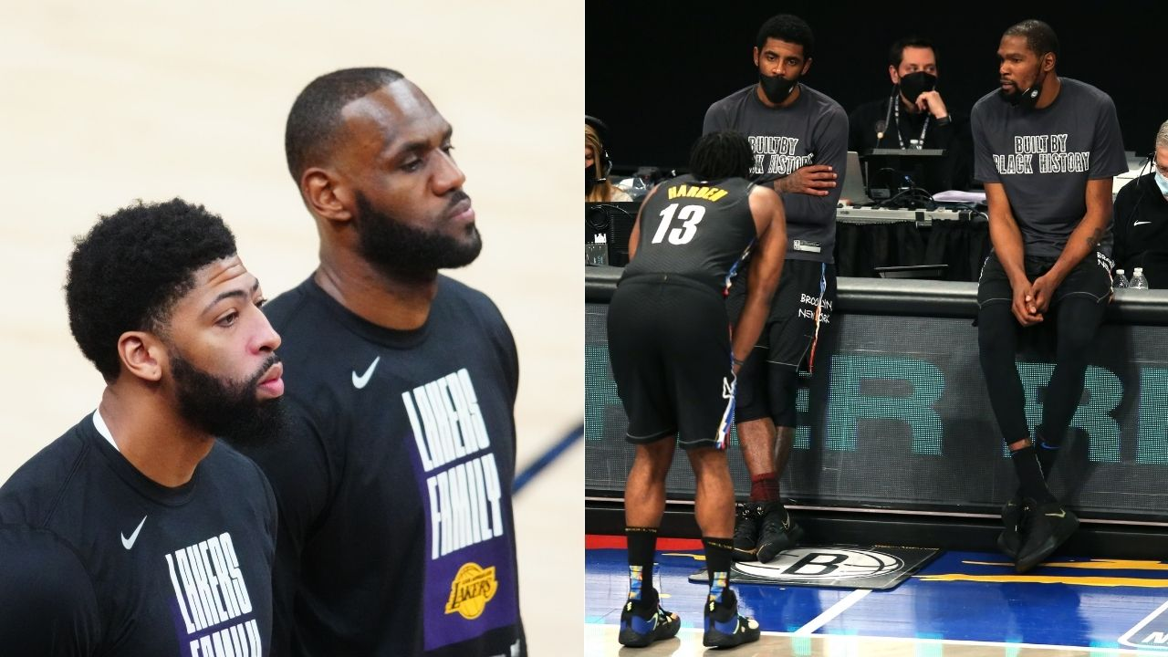 """""""LeBron James, Kyrie, Harden, Anthony Davis and myself"""": Kevin Durant names his preferred NBA 2K starting lineup exclusively with Lakers and Nets superstars"""