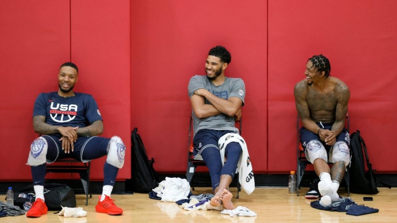"""""""Damian Lillard is recruiting Jayson Tatum to the Blazers"""": NBA fans react to the Celtics superstar and Bradley Beal chatting it up with Dame at Team USA's practice for Tokyo 2020"""